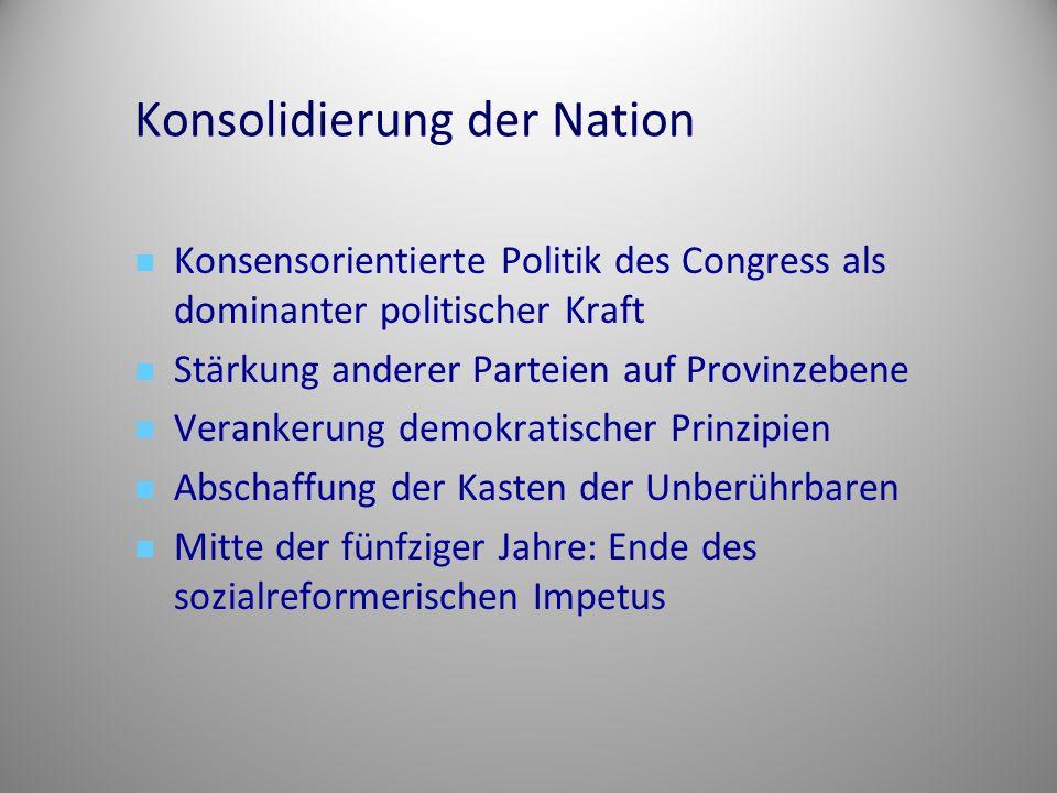 Konsolidierung der Nation Konsensorientierte Politik des Congress als dominanter politischer Kraft Stärkung anderer Parteien auf Provinzebene Veranker