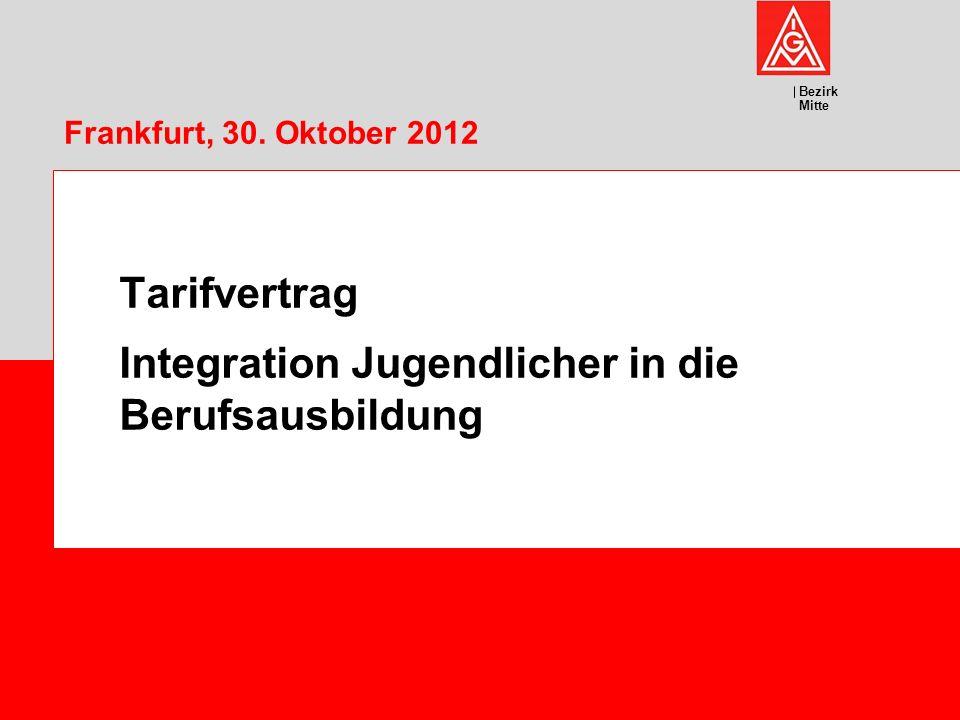 Bezirk Mitte Frankfurt, 30. Oktober 2012 Tarifvertrag Integration Jugendlicher in die Berufsausbildung