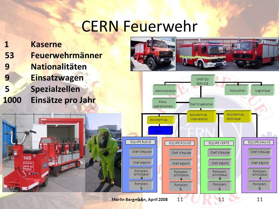 CERN Feuerwehr Merlin Bergmann, April 2008 1Kaserne 53Feuerwehrmänner 9Nationalitäten 9Einsatzwagen 5Spezialzellen 1000 Einsätze pro Jahr Assistant op