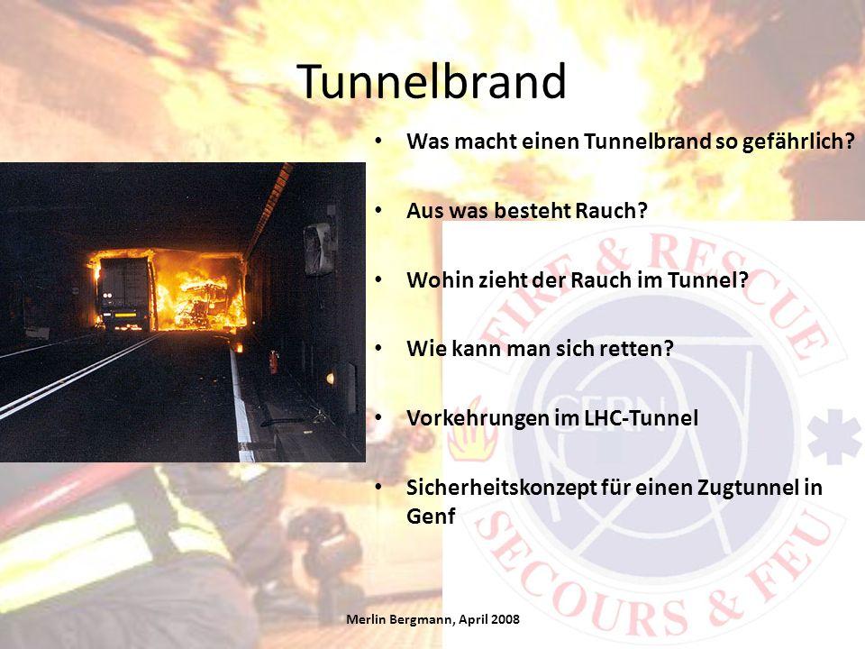 Tunnelbrand Was macht einen Tunnelbrand so gefährlich? Aus was besteht Rauch? Wohin zieht der Rauch im Tunnel? Wie kann man sich retten? Vorkehrungen