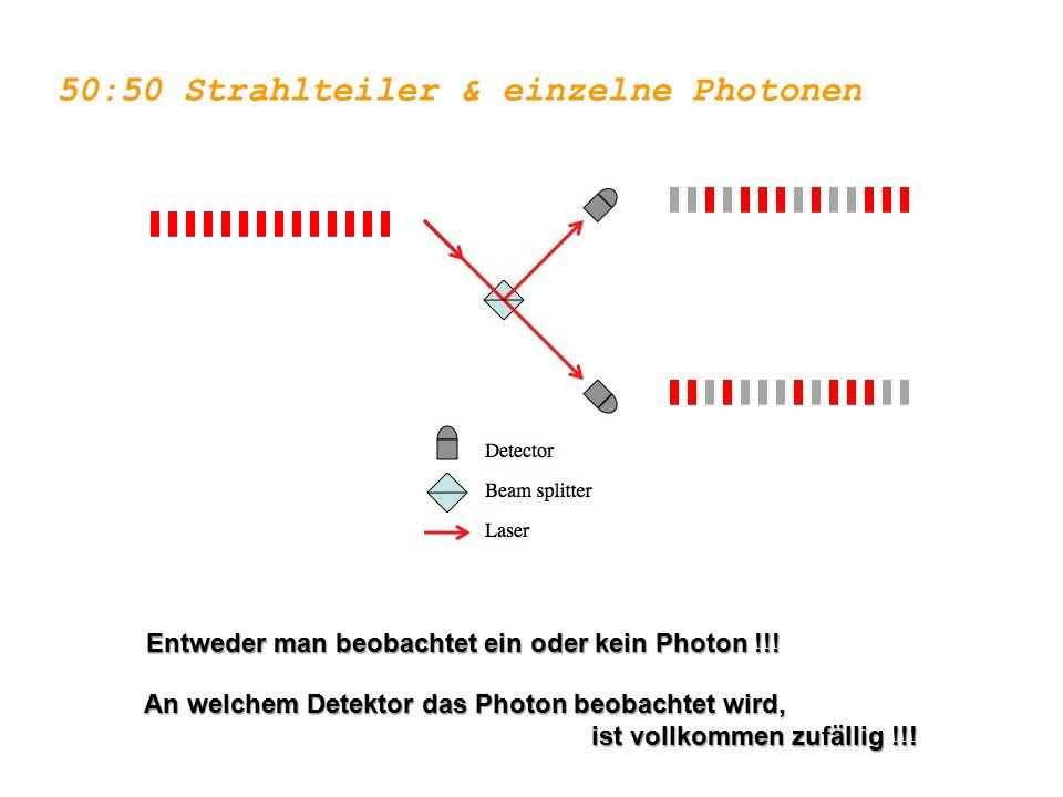 50:50 Strahlteiler & einzelne Photonen Entweder man beobachtet ein oder kein Photon !!! An welchem Detektor das Photon beobachtet wird, ist vollkommen