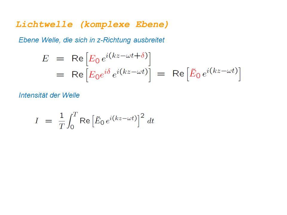 Lichtwelle (komplexe Ebene) Ebene Welle, die sich in z-Richtung ausbreitet Intensität der Welle Null nach Integration