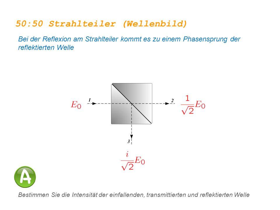 50:50 Strahlteiler (Wellenbild) Bei der Reflexion am Strahlteiler kommt es zu einem Phasensprung der reflektierten Welle Bestimmen Sie die Intensität