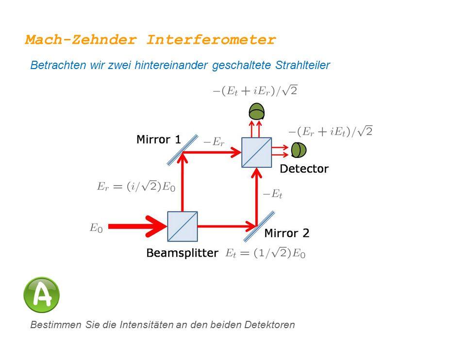 Mach-Zehnder Interferometer Betrachten wir zwei hintereinander geschaltete Strahlteiler Bestimmen Sie die Intensitäten an den beiden Detektoren