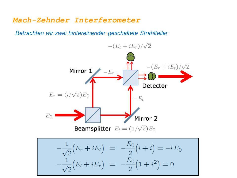 Mach-Zehnder Interferometer Betrachten wir zwei hintereinander geschaltete Strahlteiler