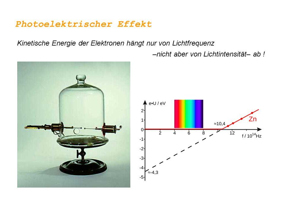 Licht wird nur in Portionen von h  absorbiert … Photonen Plancksches Wirkungsquantum h=6.626068 × 10 -34 Js ~ Teilchencharakter von Licht Photoelektrischer Effekt