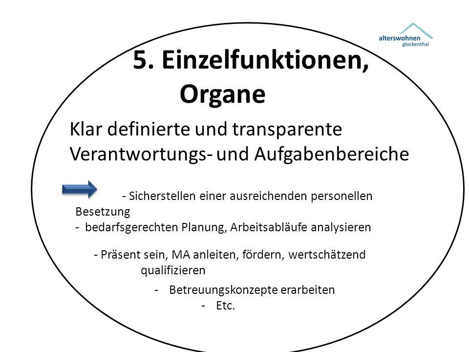 5. Einzelfunktionen, Organe Klar definierte und transparente Verantwortungs- und Aufgabenbereiche - Sicherstellen einer ausreichenden personellen Bese