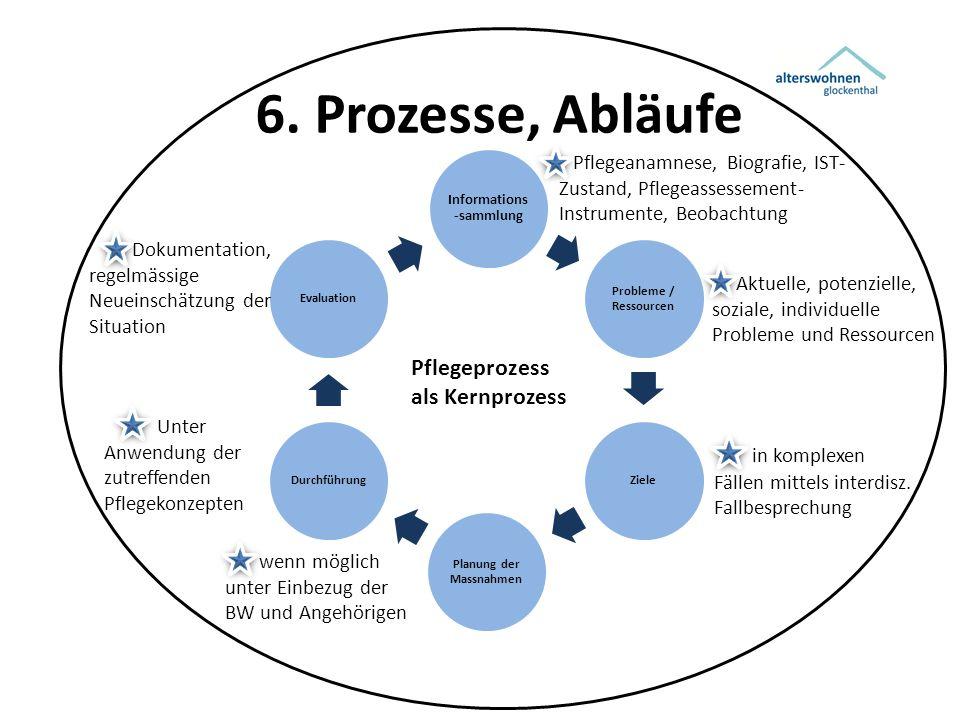 6. Prozesse, Abläufe Informations -sammlung Probleme / Ressourcen Ziele Planung der Massnahmen DurchführungEvaluation Pflegeanamnese, Biografie, IST-