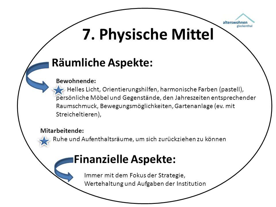 7. Physische Mittel Räumliche Aspekte: Bewohnende: Helles Licht, Orientierungshilfen, harmonische Farben (pastell), persönliche Möbel und Gegenstände,