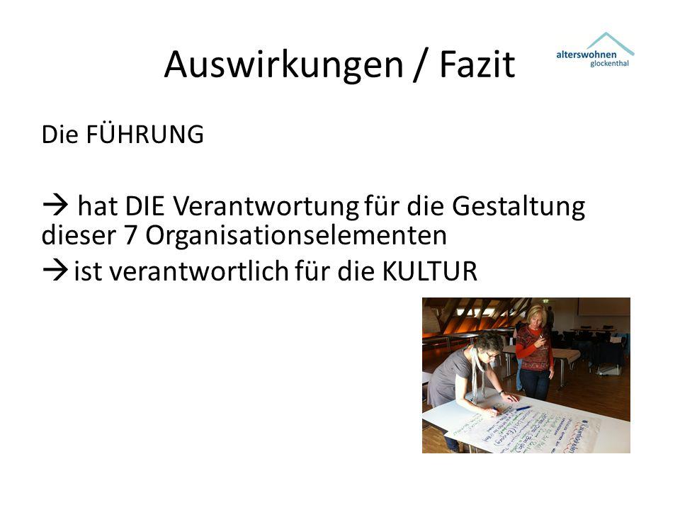 Auswirkungen / Fazit Die FÜHRUNG  hat DIE Verantwortung für die Gestaltung dieser 7 Organisationselementen  ist verantwortlich für die KULTUR