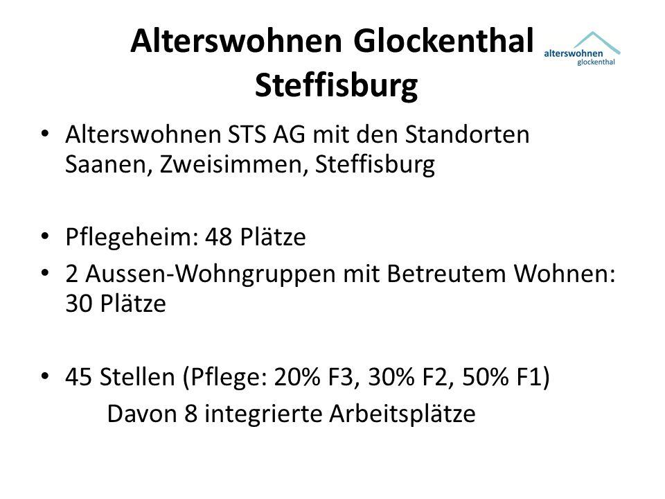Alterswohnen Glockenthal Steffisburg Alterswohnen STS AG mit den Standorten Saanen, Zweisimmen, Steffisburg Pflegeheim: 48 Plätze 2 Aussen-Wohngruppen mit Betreutem Wohnen: 30 Plätze 45 Stellen (Pflege: 20% F3, 30% F2, 50% F1) Davon 8 integrierte Arbeitsplätze