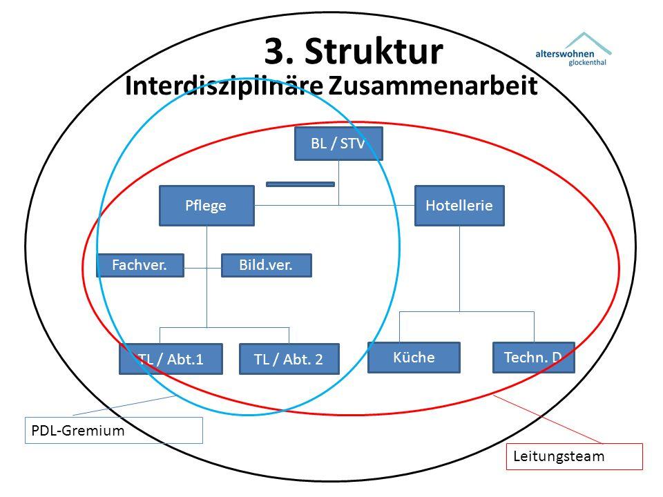 3. Struktur Interdisziplinäre Zusammenarbeit BL / STV PflegeHotellerie TL / Abt.1TL / Abt. 2 Techn. DKüche Fachver.Bild.ver. PDL-Gremium Leitungsteam