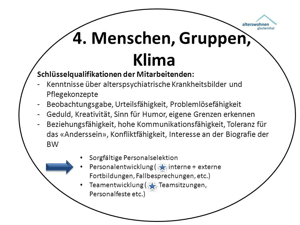 4. Menschen, Gruppen, Klima Schlüsselqualifikationen der Mitarbeitenden: -Kenntnisse über alterspsychiatrische Krankheitsbilder und Pflegekonzepte -Be