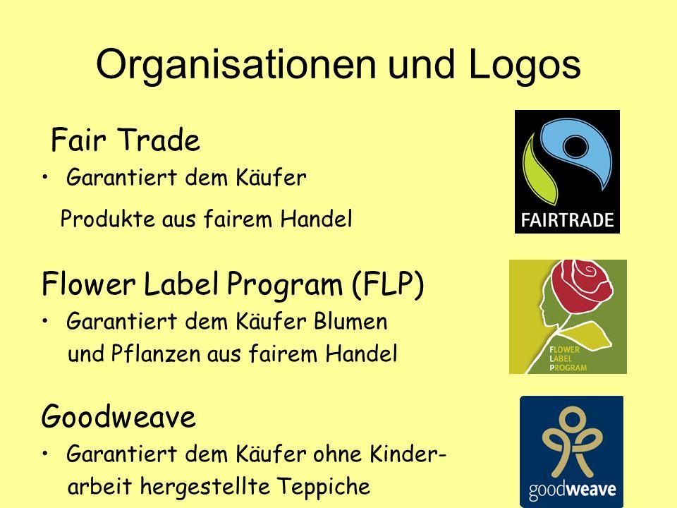 EFTA (European Fair Trade Association) Verband von 11 Fair Trade Organisationen Gepa (Gesellschaft zur Förderung der Partnerschaft mit der Dritten Welt mbH) Importeur fair gehandelter Produkte FLO (Fairtrade Labelling Organizations International) Entwickelt Standards für fairen Handel Vergibt das Fairtrade-Siegel