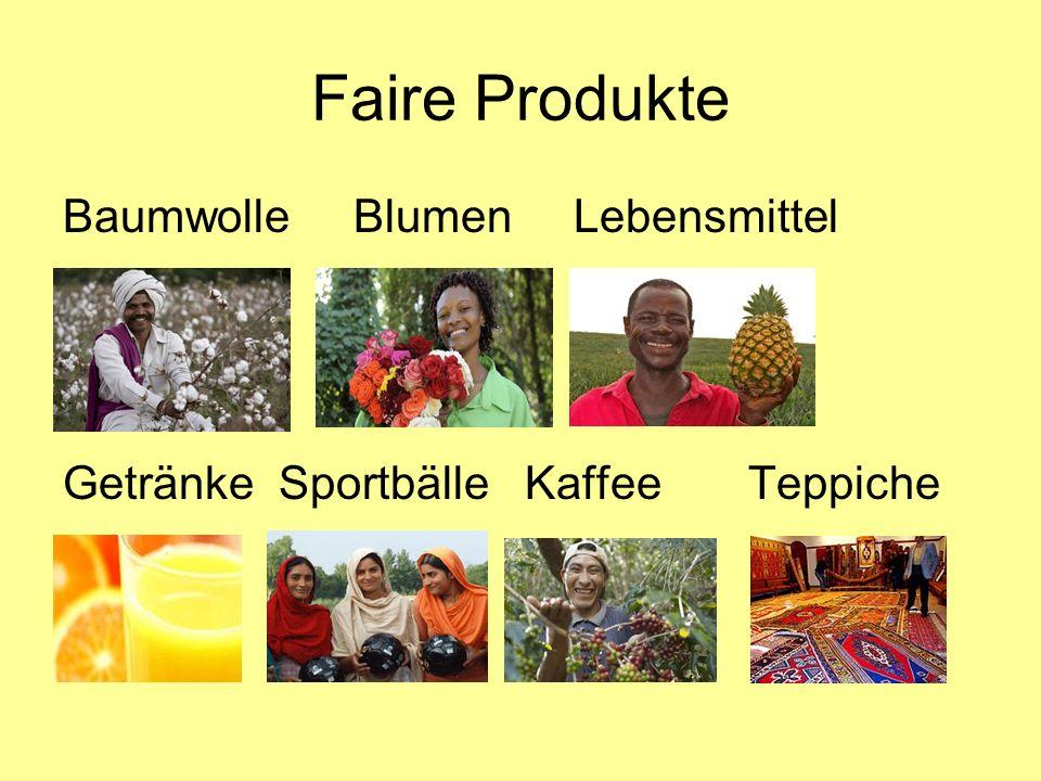 Fairtrade-Towns Städte, die durch Kauf von fairen Produkten zur besseren Lebenssituation von Kleinbauern beitragen 5 Kriterien müssen erfüllt sein 1: bei Sitzungen des Stadtrates und im Bürgermeister- bzw.