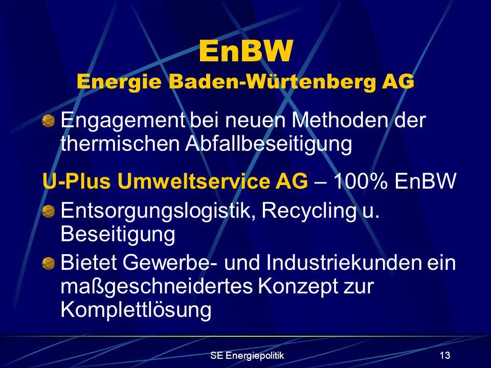 SE Energiepolitik13 EnBW Energie Baden-Würtenberg AG Engagement bei neuen Methoden der thermischen Abfallbeseitigung U-Plus Umweltservice AG – 100% EnBW Entsorgungslogistik, Recycling u.