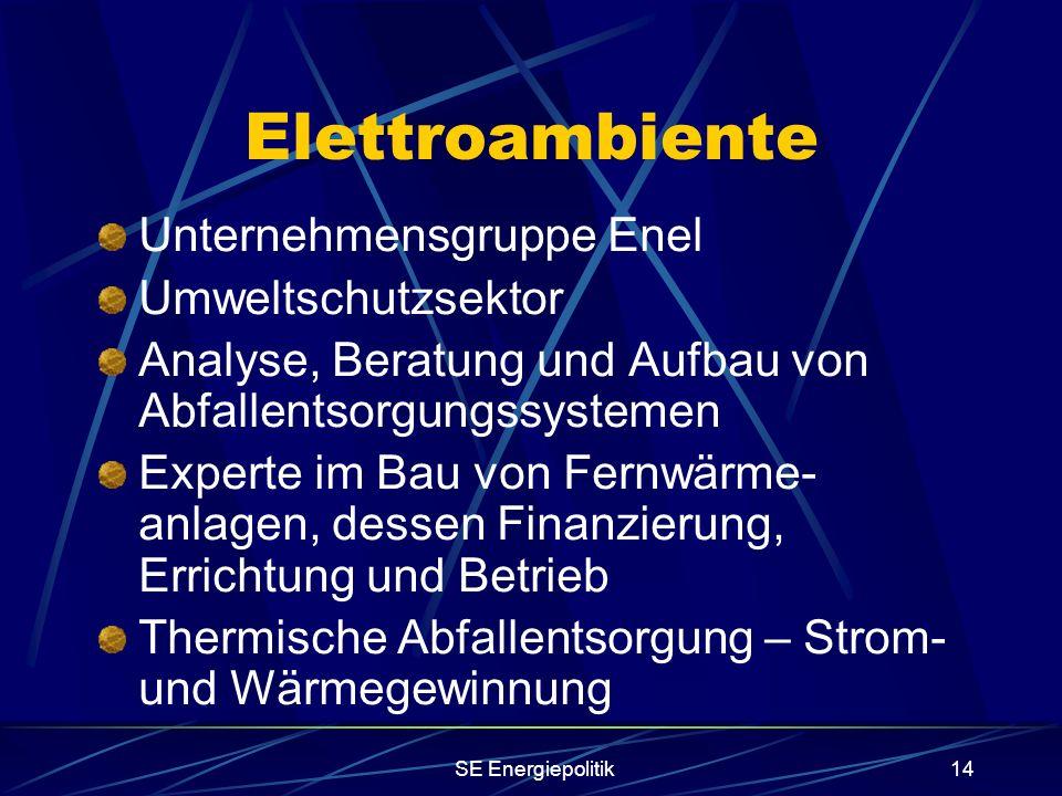 SE Energiepolitik14 Elettroambiente Unternehmensgruppe Enel Umweltschutzsektor Analyse, Beratung und Aufbau von Abfallentsorgungssystemen Experte im Bau von Fernwärme- anlagen, dessen Finanzierung, Errichtung und Betrieb Thermische Abfallentsorgung – Strom- und Wärmegewinnung