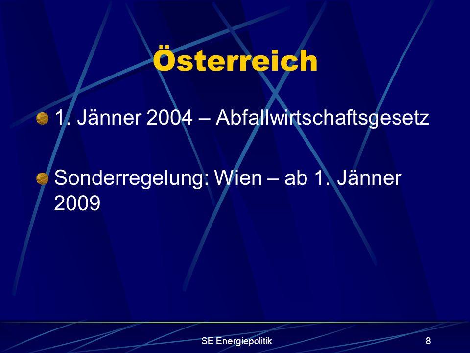 SE Energiepolitik8 Österreich 1. Jänner 2004 – Abfallwirtschaftsgesetz Sonderregelung: Wien – ab 1.