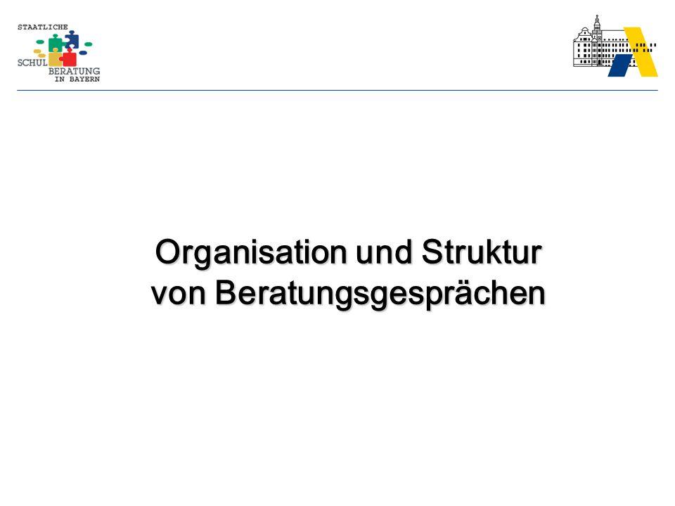 Organisation und Struktur von Beratungsgesprächen