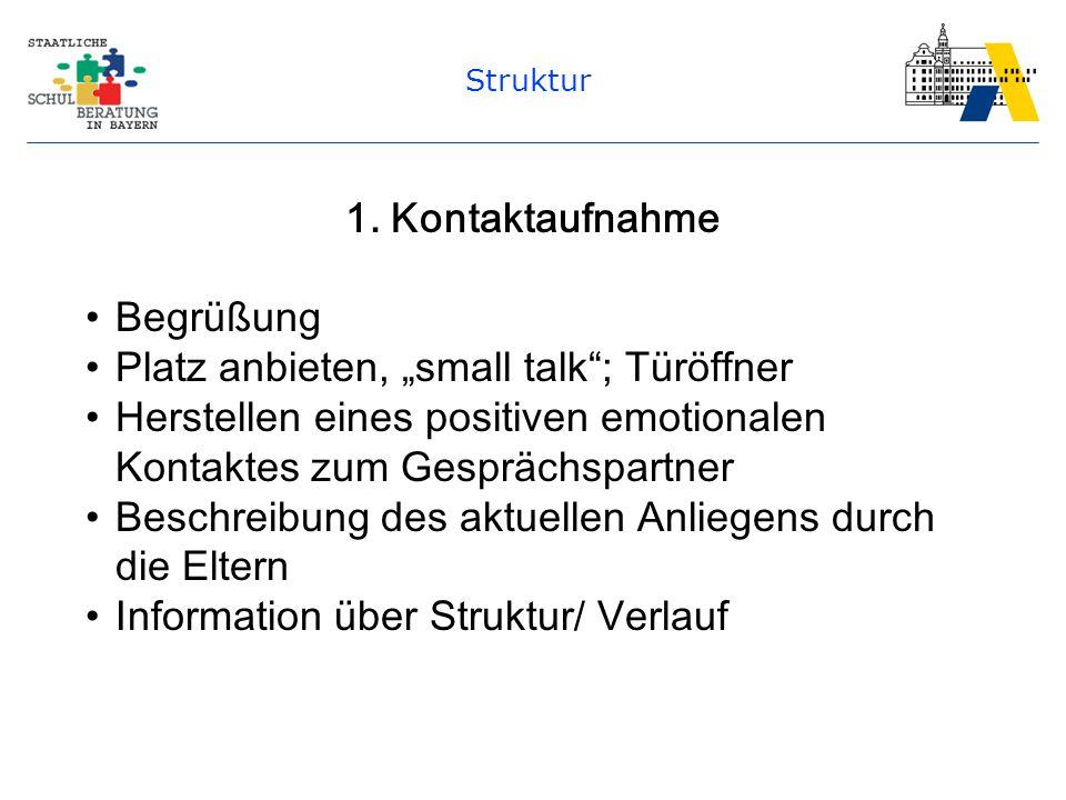 """Struktur 1. Kontaktaufnahme Begrüßung Platz anbieten, """"small talk""""; Türöffner Herstellen eines positiven emotionalen Kontaktes zum Gesprächspartner Be"""