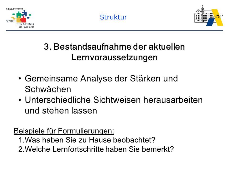 Struktur 3. Bestandsaufnahme der aktuellen Lernvoraussetzungen Gemeinsame Analyse der Stärken und Schwächen Unterschiedliche Sichtweisen herausarbeite