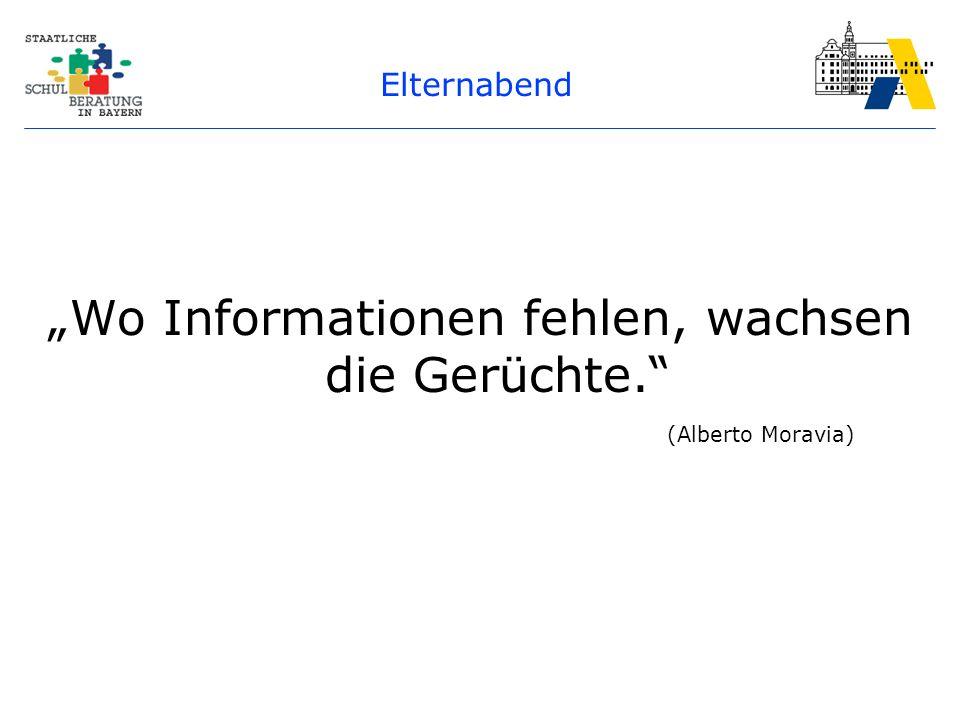 """Elternabend """"Wo Informationen fehlen, wachsen die Gerüchte. (Alberto Moravia)"""