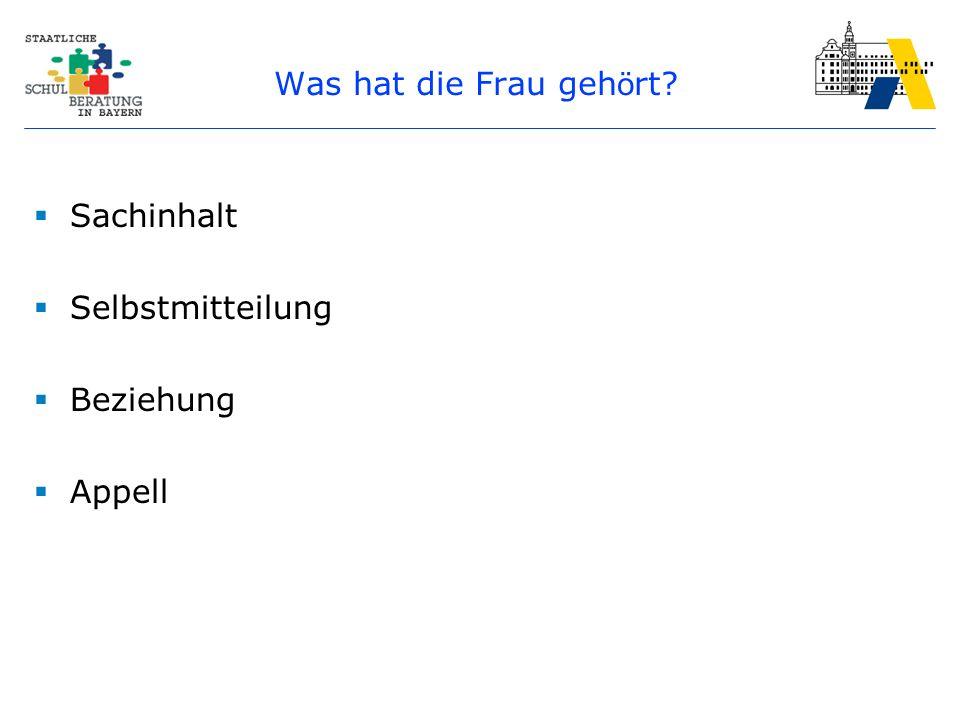 Kommunikationsmodell (Schulz von Thun) EmpfängerSender Appell Bezie- hung Nach- richt Selbst- offen- barung Sach- inhalt