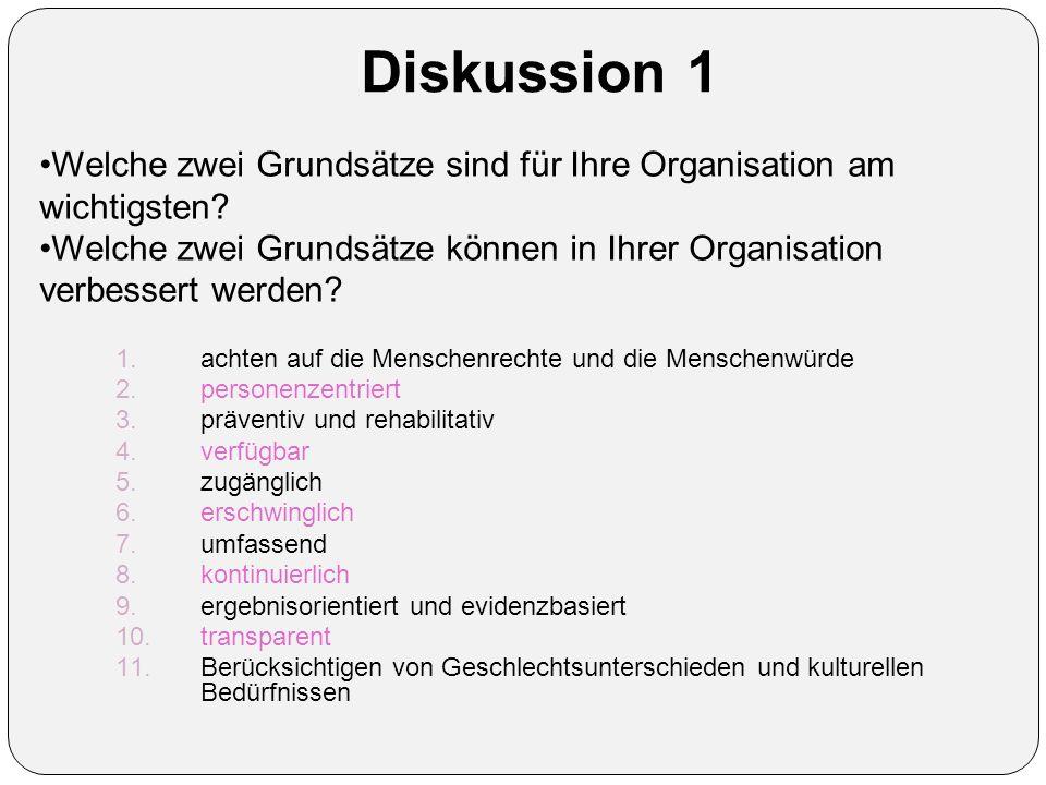 Diskussion 1 Welche zwei Grundsätze sind für Ihre Organisation am wichtigsten.