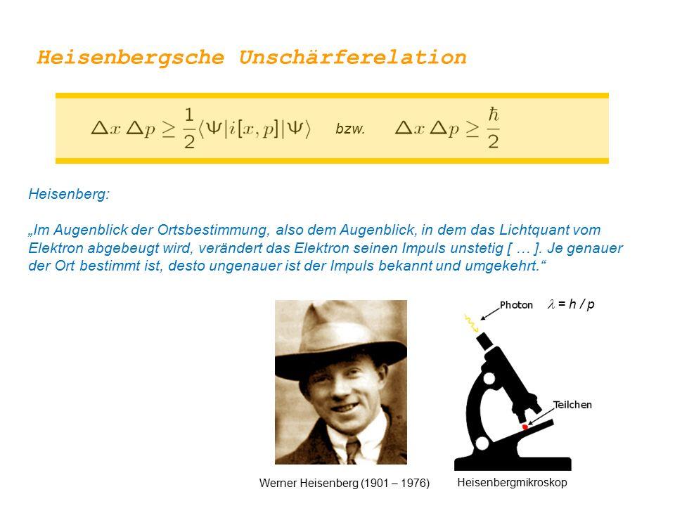 """bzw. Heisenberg: """"Im Augenblick der Ortsbestimmung, also dem Augenblick, in dem das Lichtquant vom Elektron abgebeugt wird, verändert das Elektron sei"""