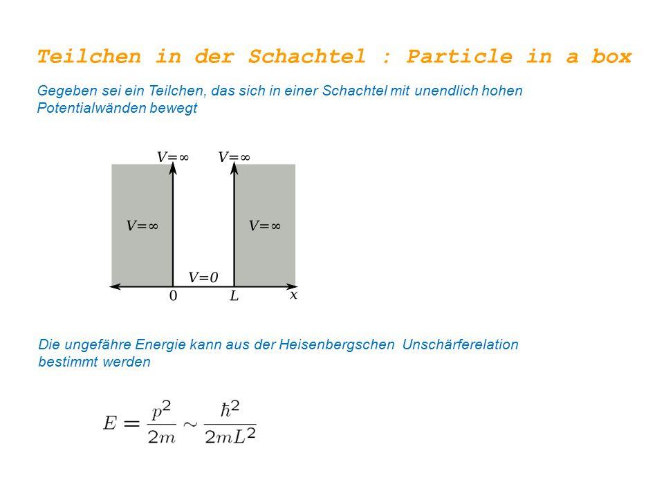 Teilchen in der Schachtel : Particle in a box Gegeben sei ein Teilchen, das sich in einer Schachtel mit unendlich hohen Potentialwänden bewegt Die ungefähre Energie kann aus der Heisenbergschen Unschärferelation bestimmt werden