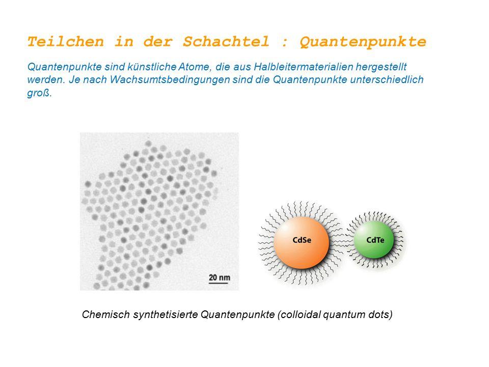 Teilchen in der Schachtel : Quantenpunkte Quantenpunkte sind künstliche Atome, die aus Halbleitermaterialien hergestellt werden.