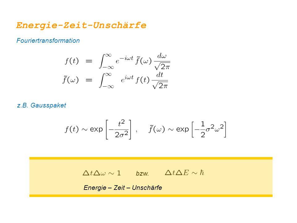 bzw. Energie – Zeit – Unschärfe Energie-Zeit-Unschärfe Fouriertransformation z.B. Gausspaket