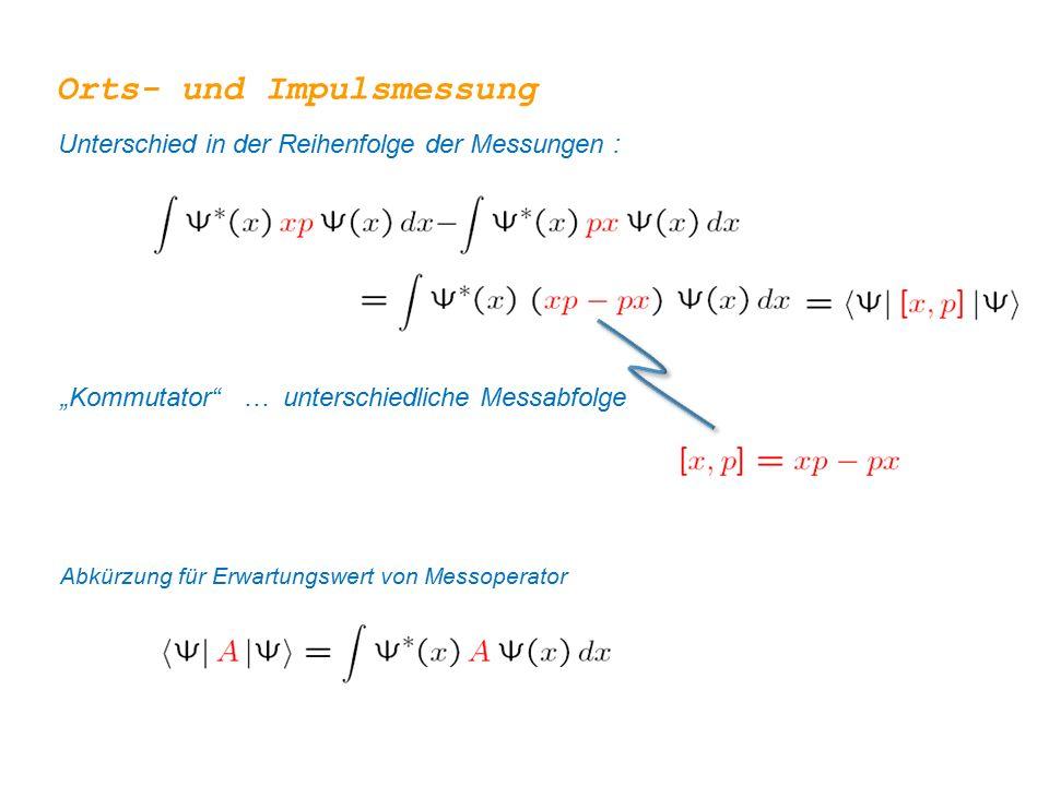 """Orts- und Impulsmessung Unterschied in der Reihenfolge der Messungen : """"Kommutator … unterschiedliche Messabfolge Abkürzung für Erwartungswert von Messoperator"""