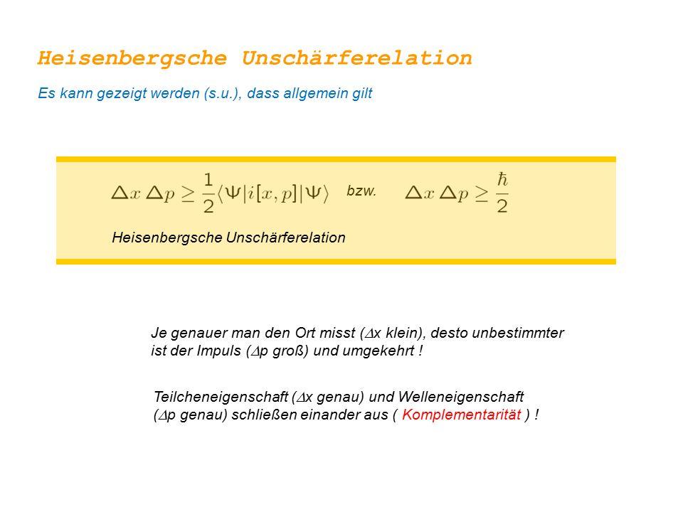 bzw. Heisenbergsche Unschärferelation Je genauer man den Ort misst (  x klein), desto unbestimmter ist der Impuls (  p groß) und umgekehrt ! Teilche