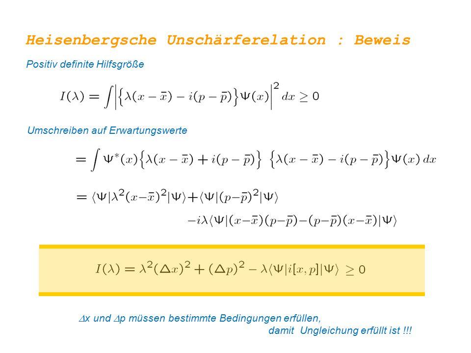 Heisenbergsche Unschärferelation : Beweis Positiv definite Hilfsgröße Umschreiben auf Erwartungswerte  x und  p müssen bestimmte Bedingungen erfüllen, damit Ungleichung erfüllt ist !!!