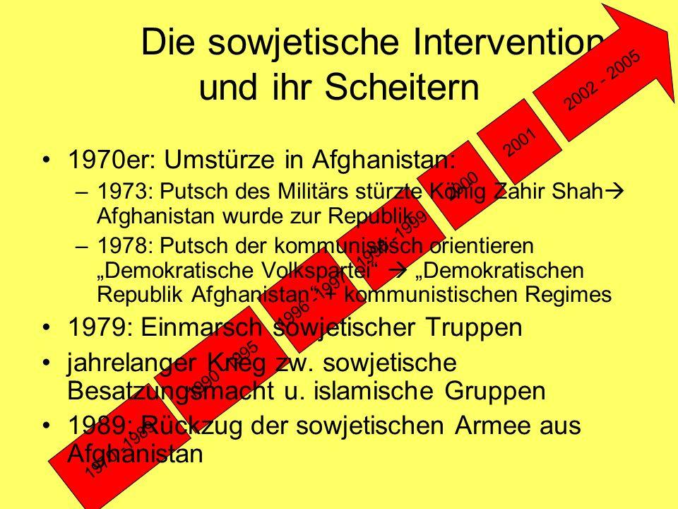 Die sowjetische Intervention und ihr Scheitern 1970 -1989 1990 -1995 1996 -1997 1998 -1999 2000 2001 2002 - 2005 1970er: Umstürze in Afghanistan: –197