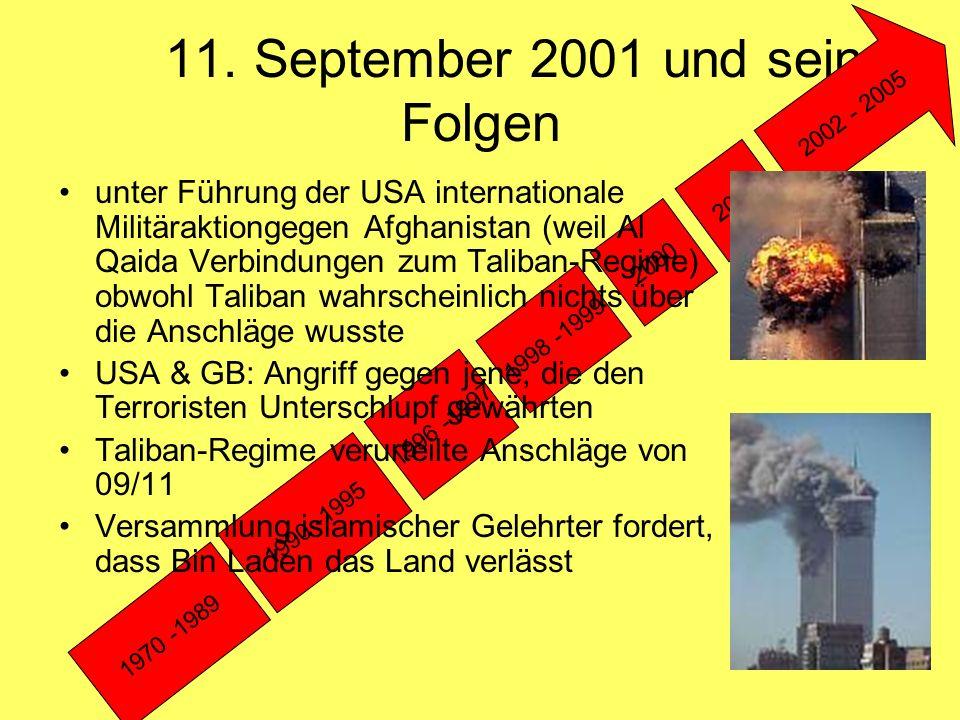 11. September 2001 und seine Folgen 1970 -1989 1990 -1995 1996 -1997 1998 -1999 2000 2001 2002 - 2005 unter Führung der USA internationale Militärakti