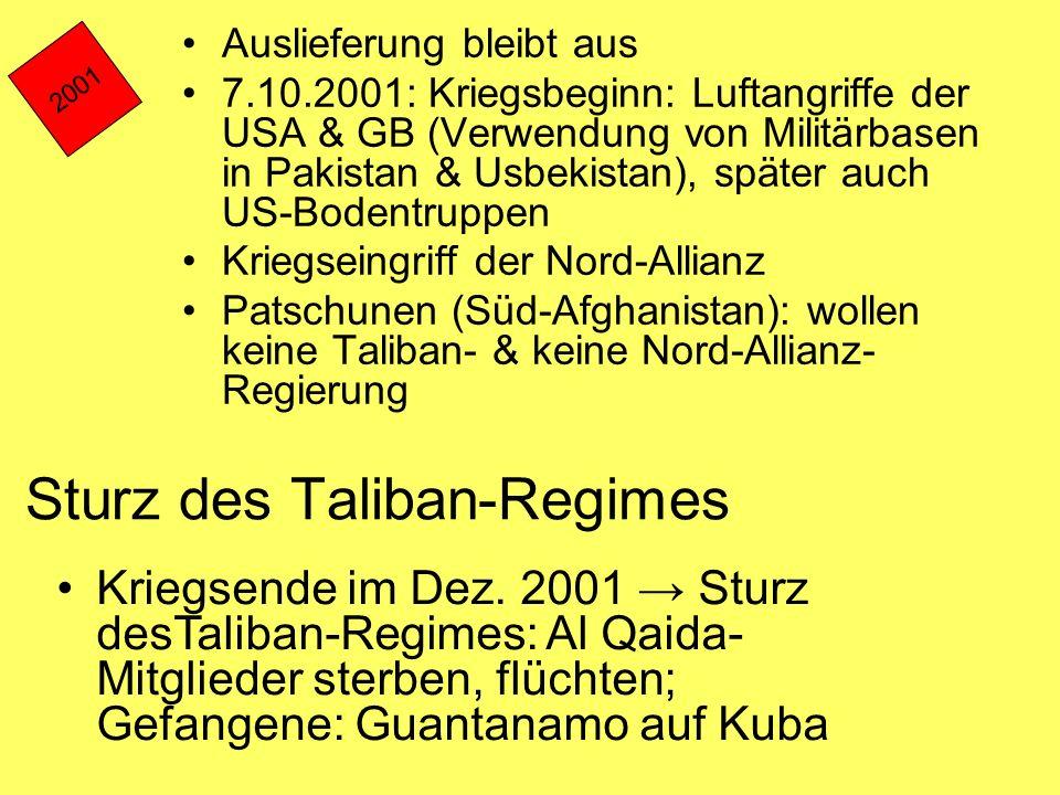Sturz des Taliban-Regimes Auslieferung bleibt aus 7.10.2001: Kriegsbeginn: Luftangriffe der USA & GB (Verwendung von Militärbasen in Pakistan & Usbeki