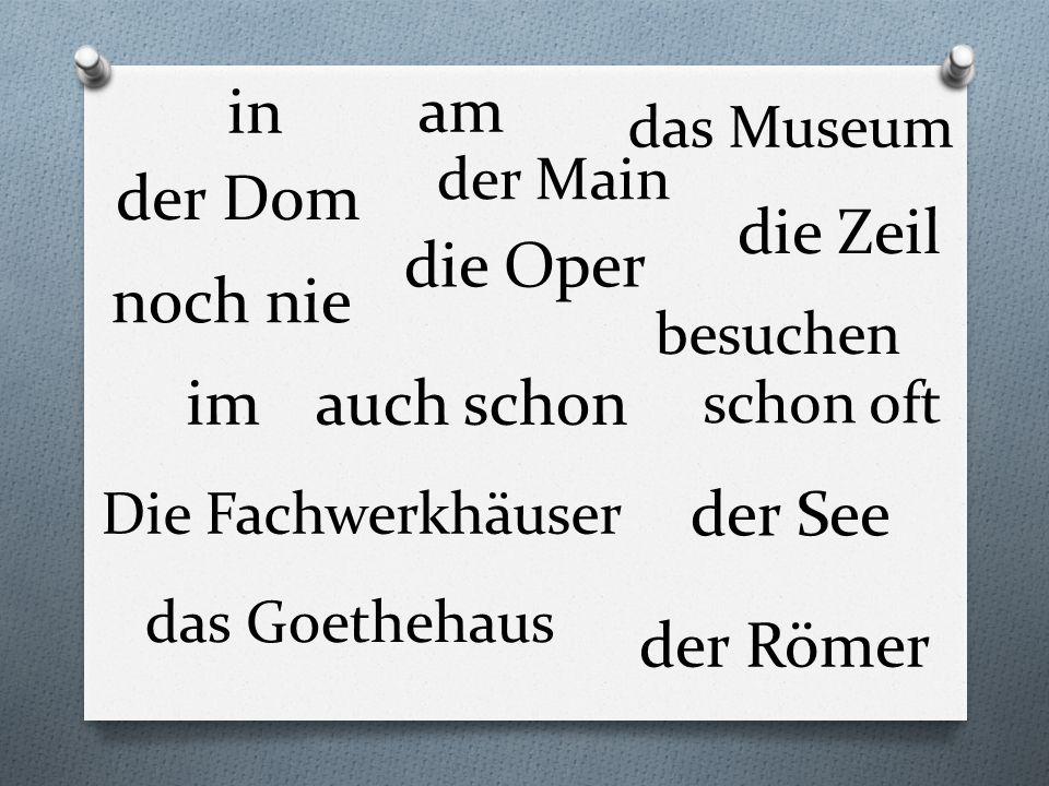 der Dom die Oper das Museum der Römer Die Fachwerkhäuser die Zeil der Main das Goethehaus der See noch nie schon oft auch schon besuchen im am in