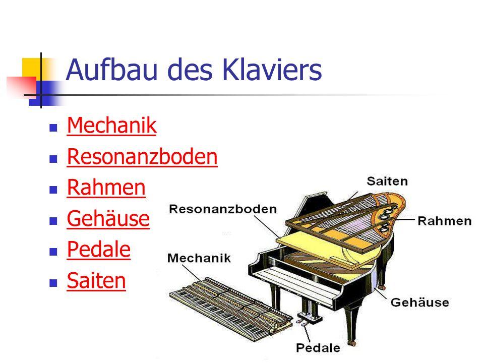 Aufbau des Klaviers Mechanik Resonanzboden Rahmen Gehäuse Pedale Saiten