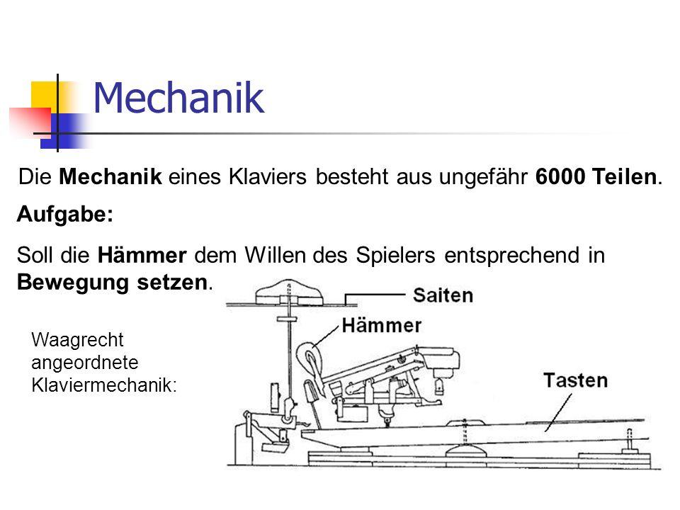 Mechanik Die Mechanik eines Klaviers besteht aus ungefähr 6000 Teilen. Aufgabe: Soll die Hämmer dem Willen des Spielers entsprechend in Bewegung setze