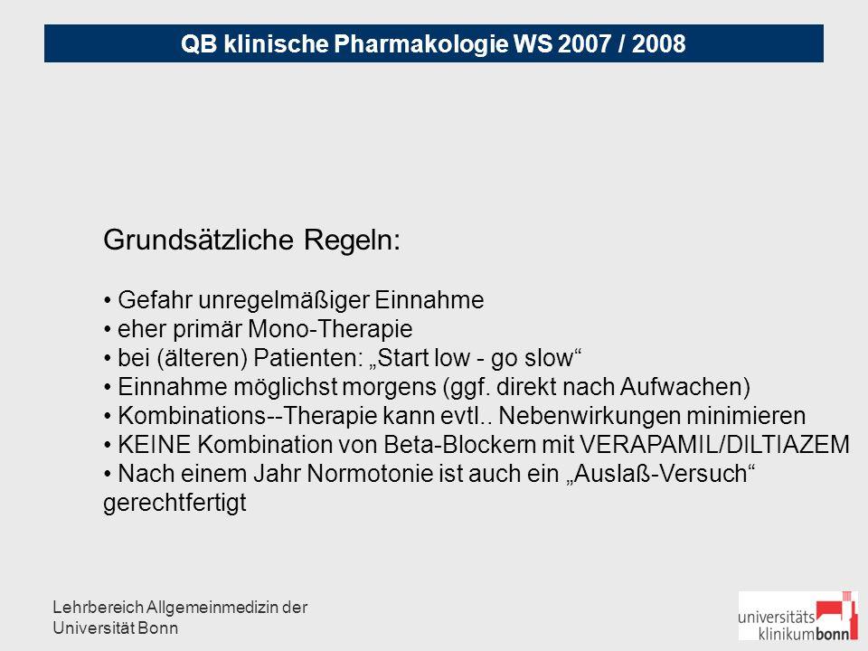 QB klinische Pharmakologie WS 2007 / 2008 Lehrbereich Allgemeinmedizin der Universität Bonn Antihypertensiva Substanz- Gruppen: A.) Diuretica B.) ß-Blocker C.) ACE-Hemmer D.) Ca-Antagonisten E.) AT-II-Antagonisten F.) Sonstige