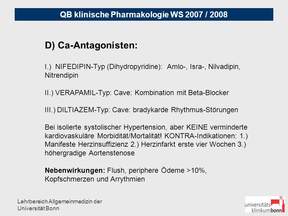 """QB klinische Pharmakologie WS 2007 / 2008 Lehrbereich Allgemeinmedizin der Universität Bonn E.) AT-1-Rezeptor-Antagonisten """"Sartane z.B."""