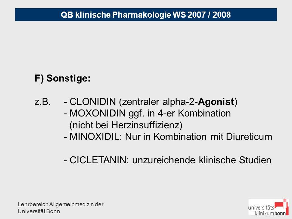 QB klinische Pharmakologie WS 2007 / 2008 Lehrbereich Allgemeinmedizin der Universität Bonn Fallbeispiel arterielle Hypertonie: 52 Jahre, Mann, 142 kg, 187 cm, RR bei Gesundheitsuntersuchung 180/100 mmHg, Glucose 120 mg% nüchtern, HbA1c 6.1 24-Stunden-Blutdruckmessung: im 24 Stunden-Durchschnitt:145 / 95 mmHg, tagsüber hypertone Werte mit durchschnittlich 163 / 98 mmHg, nachts deutliche Nachtabsenkung sekundäre Hypertonie wurde ausgeschlossen Welches Stadium liegt vor.