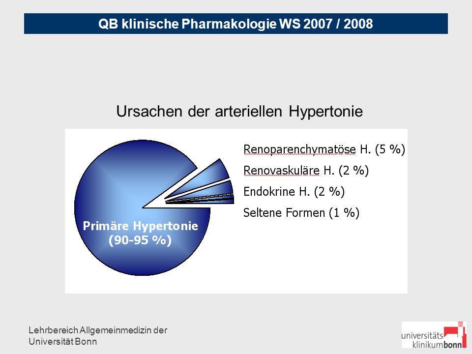 QB klinische Pharmakologie WS 2007 / 2008 Lehrbereich Allgemeinmedizin der Universität Bonn Medikamente, die eine Hypertonie induzieren können: NSAR (Nicht-Steroidale Antirheumatika) Glucocorticosteroide andere Immunnsuppressiva (Tacrolimus, Ciclosporin) Mineralocorticosteroide Psychostimulantien ('Appetitzügler') Anabolika, EPO, Cocain MAO-Hemmer, Bromocriptin Ovulationshemmer