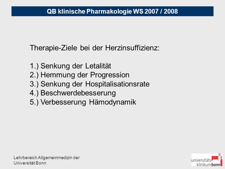 QB klinische Pharmakologie WS 2007 / 2008 Lehrbereich Allgemeinmedizin der Universität Bonn Nicht-Medikamentöse Maßnahmen: - zunächst ggf.
