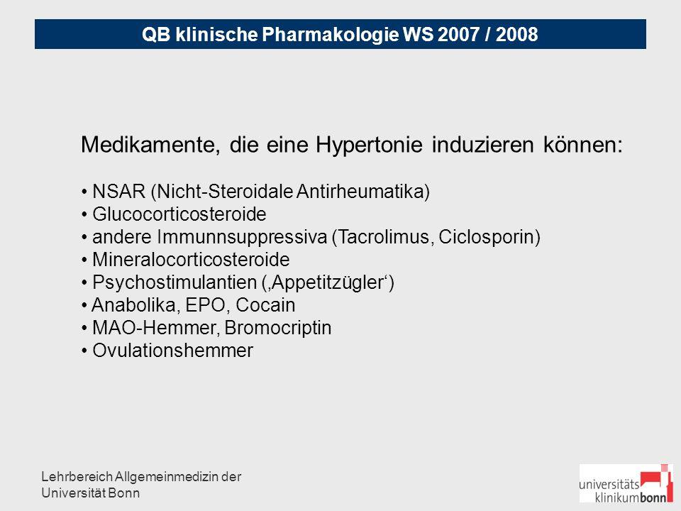 QB klinische Pharmakologie WS 2007 / 2008 Lehrbereich Allgemeinmedizin der Universität Bonn Fallbeispiel arterielle Hypertonie: 52 Jahre, Mann, 142 kg, 187 cm, RR bei Gesundheitsuntersuchung 180/100 mmHg, Glucose 120 mg% nüchtern, HbA1c 6.1 24-Stunden-Blutdruckmessung: im 24 Stunden-Durchschnitt:145 / 95 mmHg, tagsüber hypertone Werte mit durchschnittlich 163 / 98 mmHg, nachts deutliche Nachtabsenkung sekundäre Hypertonie und Medikamentennebenwirkung wurde ausgeschlossen Welches Stadium liegt vor?