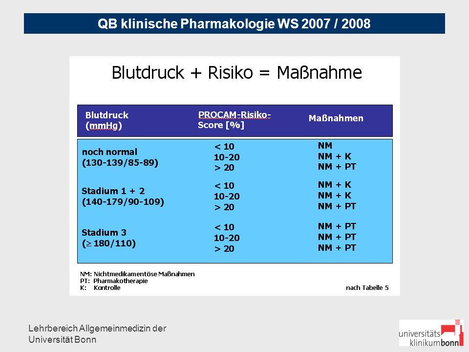 QB klinische Pharmakologie WS 2007 / 2008 Lehrbereich Allgemeinmedizin der Universität Bonn Praktisches Vorgehen bei Stadium 1+ 2