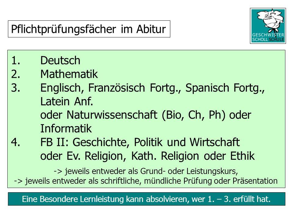 Eine Besondere Lernleistung kann absolvieren, wer 1. – 3. erfüllt hat. 1. Deutsch 2. Mathematik 3.Englisch, Französisch Fortg., Spanisch Fortg., Latei