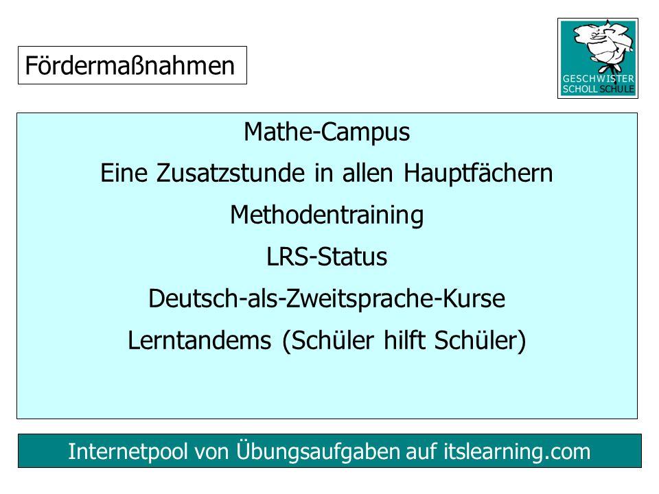 Internetpool von Übungsaufgaben auf itslearning.com Mathe-Campus Eine Zusatzstunde in allen Hauptfächern Methodentraining LRS-Status Deutsch-als-Zweitsprache-Kurse Lerntandems (Schüler hilft Schüler) Fördermaßnahmen